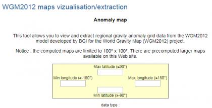 全球重力异常值和磁场异常值提取